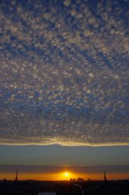 Clouds fill the Paris sky at sunset