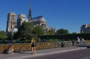 Notre Dame and bridge with locks, Paris, France