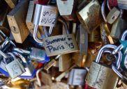 Locks of love on bridge, Paris, France