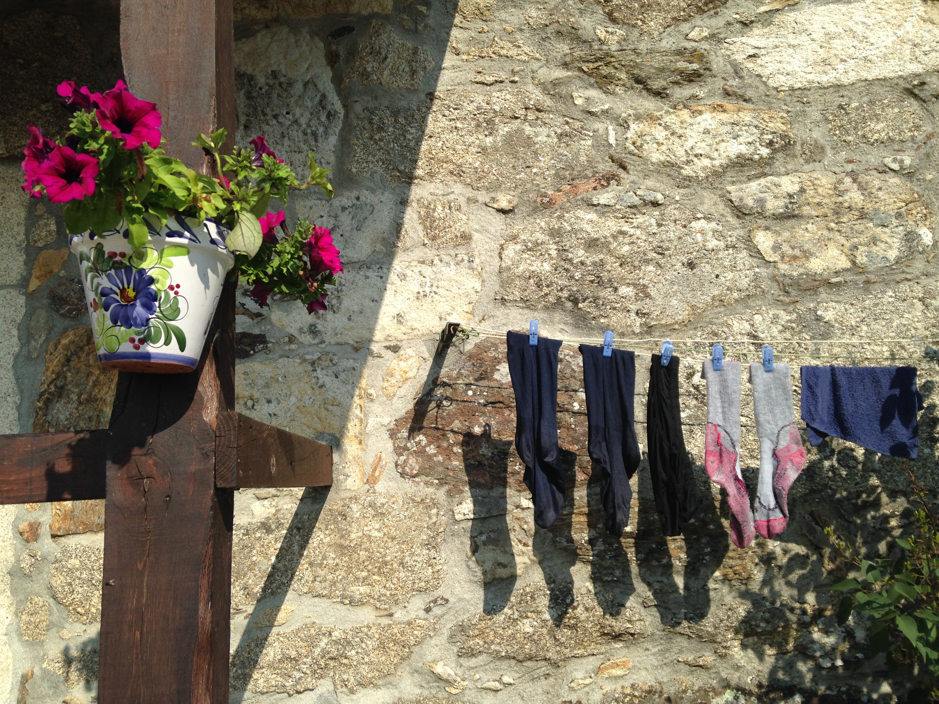 socks on laundry line, camino