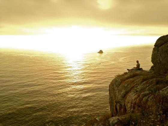 Rocks, sunset, Finisterre, Spain