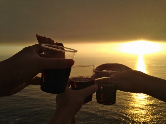 toasting the camino, Finisterre, Spain