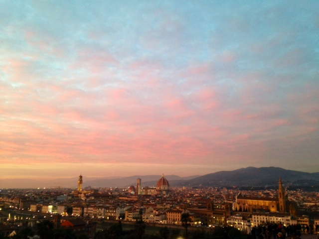 sunset over Florence skyline