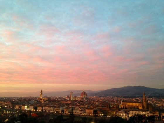 sunset over Florence skyline