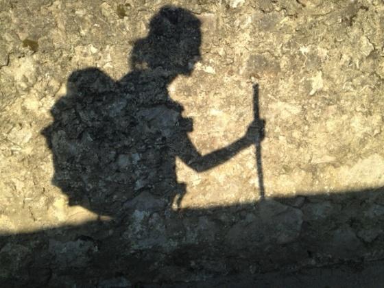 Pilgrim shadow, Camino de Santiago