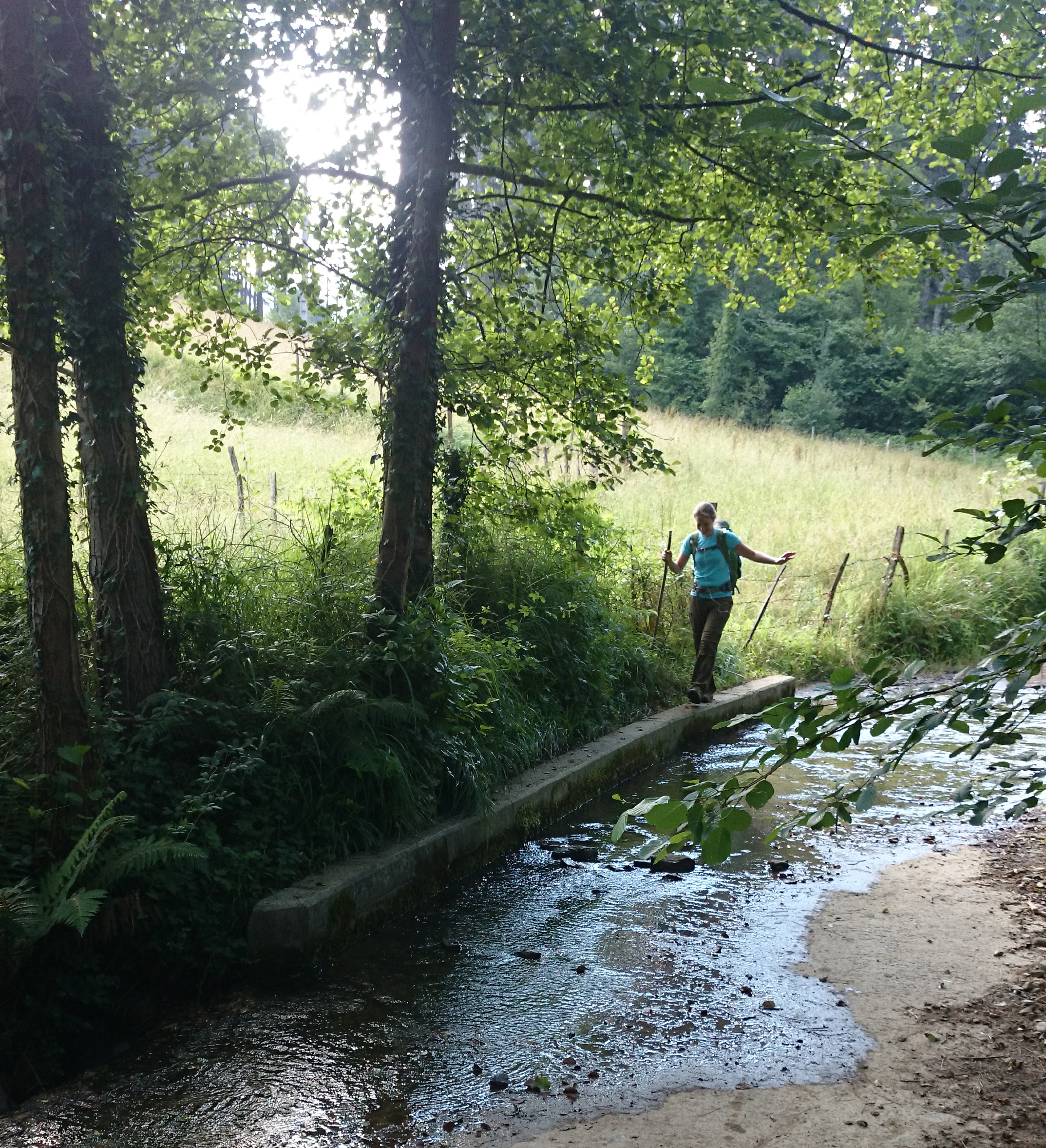 Crossing water on the Camino del Norte