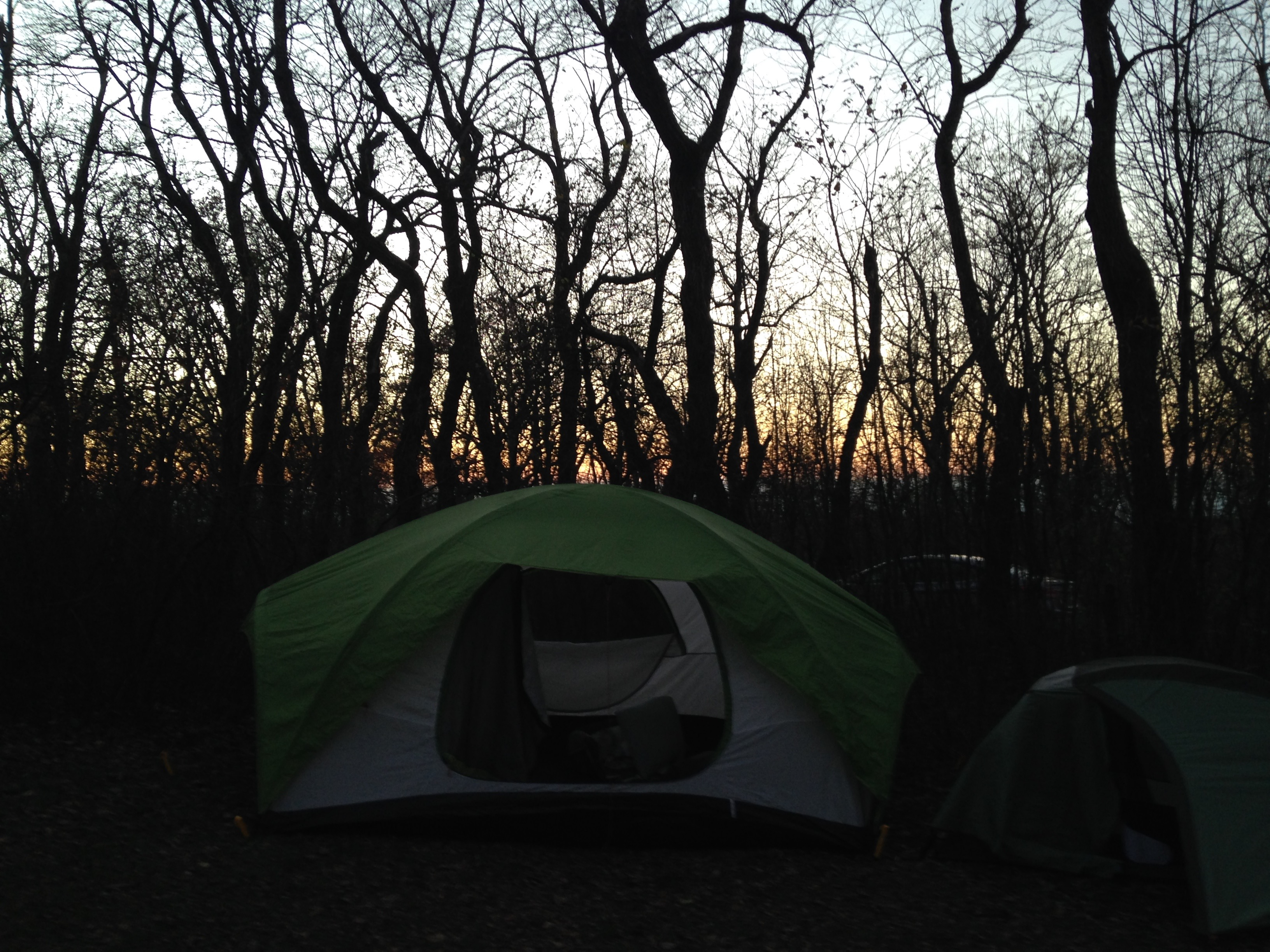 Camping at dusk, Shenandoah National Park, Virginia