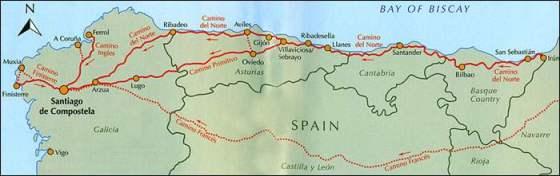 Map of Camino del Norte
